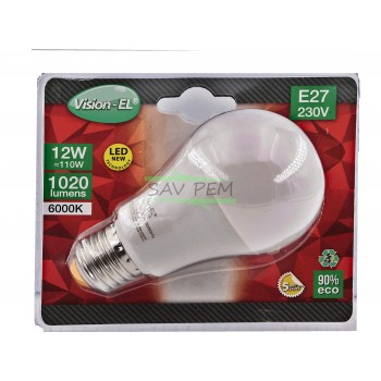 Ampoule LED VIS E27 - 230 VOLT puissance 12W - 1020 LUMENS - 6000K